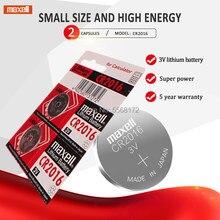 2 шт., Кнопочная батарея для часов maxell CR2016, 3 в