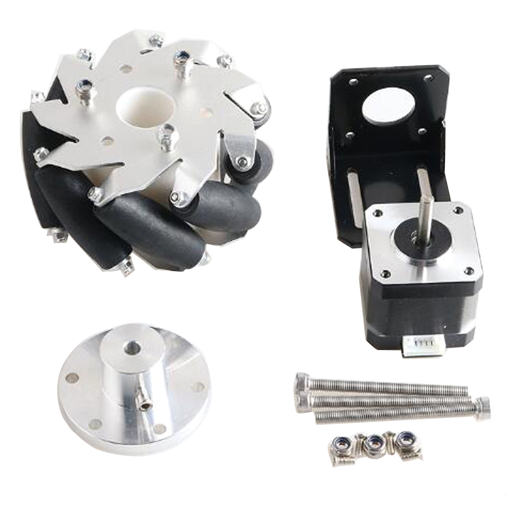 Metal Mecanum Drive Wheel 42 Stepper Motor with 42 Motor Bracket + Matching Screws for DIY RC Car Drive Parts image