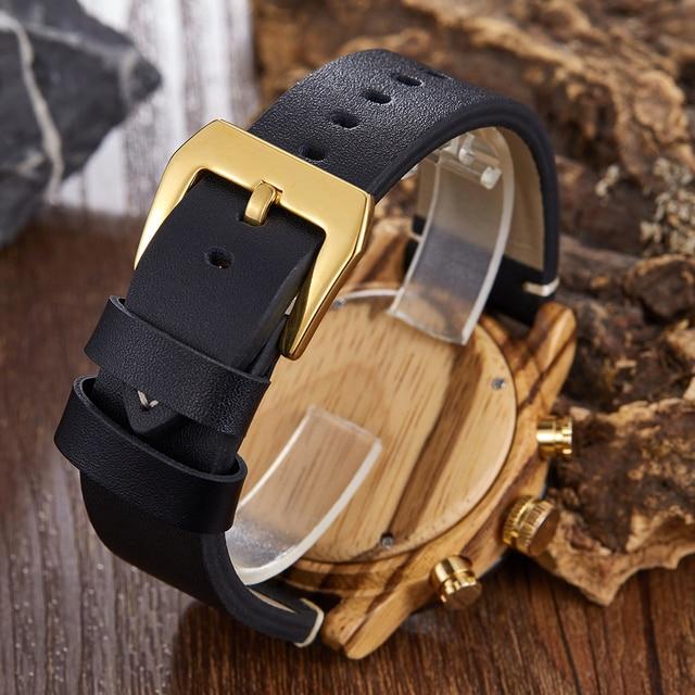 LED Digital Watch Men Wood Wristwatch Fashion Multi-function Quartz Digital Display Date Leather Military Sport Wooden Relogio 2