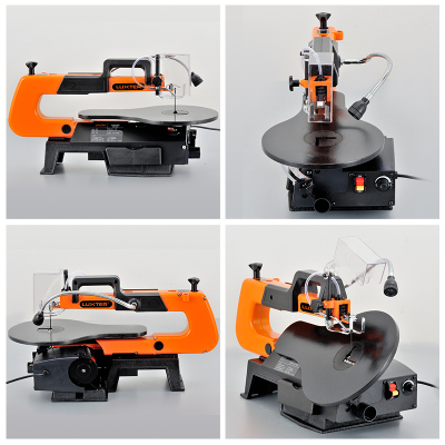 Tools : Electric Scroll Saw 16 inch Speed Variable Jig Saw 220V Woodworking DIY Table Angle Cutting Curve Saw with 10 Blades SSA16L-VR
