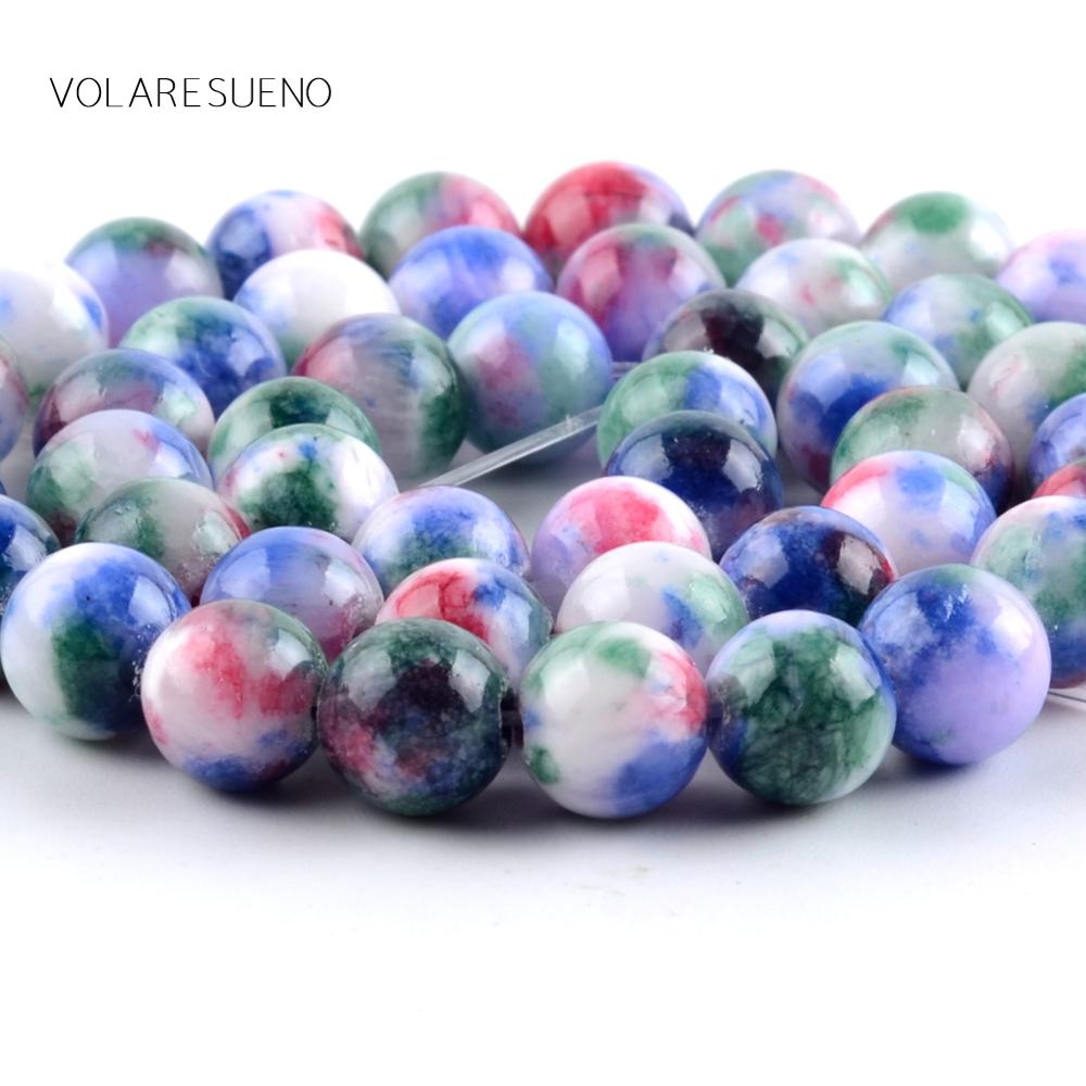 Natural Colorful Persian Jades Stone Round Loose Beads For Jewelry Making 6 10mm Spacer Beads Fit Diy Bracelet Necklace 15 39 39 in Beads from Jewelry amp Accessories