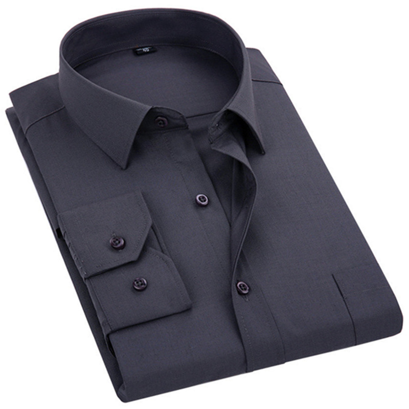 2020 New Men's Dress Shirt Solid Color Plus Size 8XL Black White Blue Gray Chemise Homme Male Business Casual Long Sleeved Shirt 1