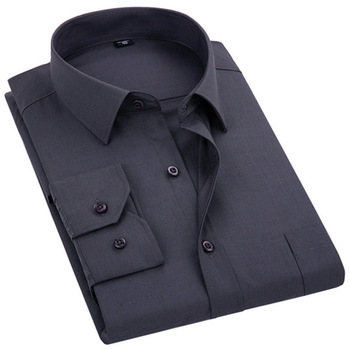 2021 New Men's Dress Shirt Solid Color Plus Size 8XL Black White Blue Gray Chemise Homme Male Business Casual Long Sleeved Shirt 1