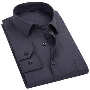 Image 1 - 2020 ใหม่ผู้ชายชุดเสื้อสีทึบPLUSขนาด 8XLสีดำสีขาวสีฟ้าสีเทาChemise HOMMEชายธุรกิจCASUALเสื้อแขนยาว