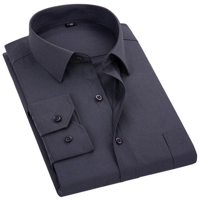 2020 ใหม่ผู้ชายชุดเสื้อสีทึบPLUSขนาด 8XLสีดำสีขาวสีฟ้าสีเทาChemise HOMMEชายธุรกิจCASUALเสื้อแขนยาว