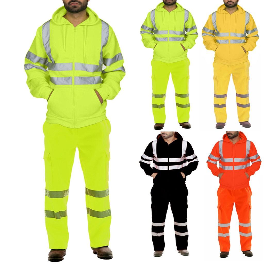 Men's Road Work High Visibility Pullo Sweatshirt Pants Sets Hooded Sweatshirt Sportswear Suits Workout Set Tracksuit Plus Size