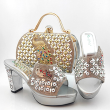 Lates New Design Italian Women Shoes Matching Bag in Silver Color High Quality African Decorate with Rhinestone for Wedding new gold office shoe and bag set women shoes and bag set in italy design italian shoes with matching bag set wedding dress shoes