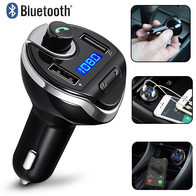 Wireless Transmitter Bluetooth Hands Free Car Kit Radio Adapter USB Car Charger