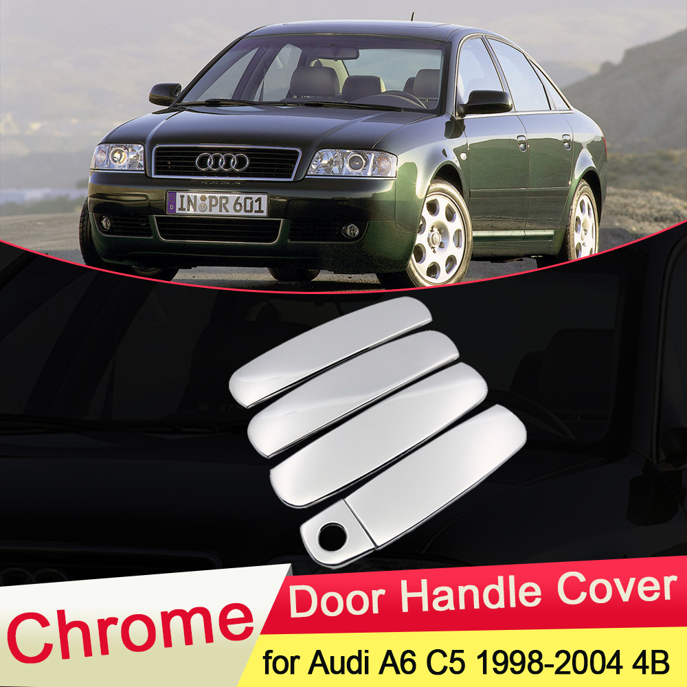 for <font><b>Audi</b></font> <font><b>A6</b></font> <font><b>C5</b></font> 1998 <font><b>1999</b></font> 2000 2001 2002 2003 2004 4B Luxurious Chrome Door Handle Cover Catch Trim Set Car Styling Accessories image