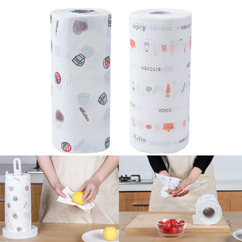 1 Roll Printing Dry Wet Multifunctional Hands Wiping Dish Washing Anti Oil Cleaning Fadeproof Disposable Reusable Kitchen Towel