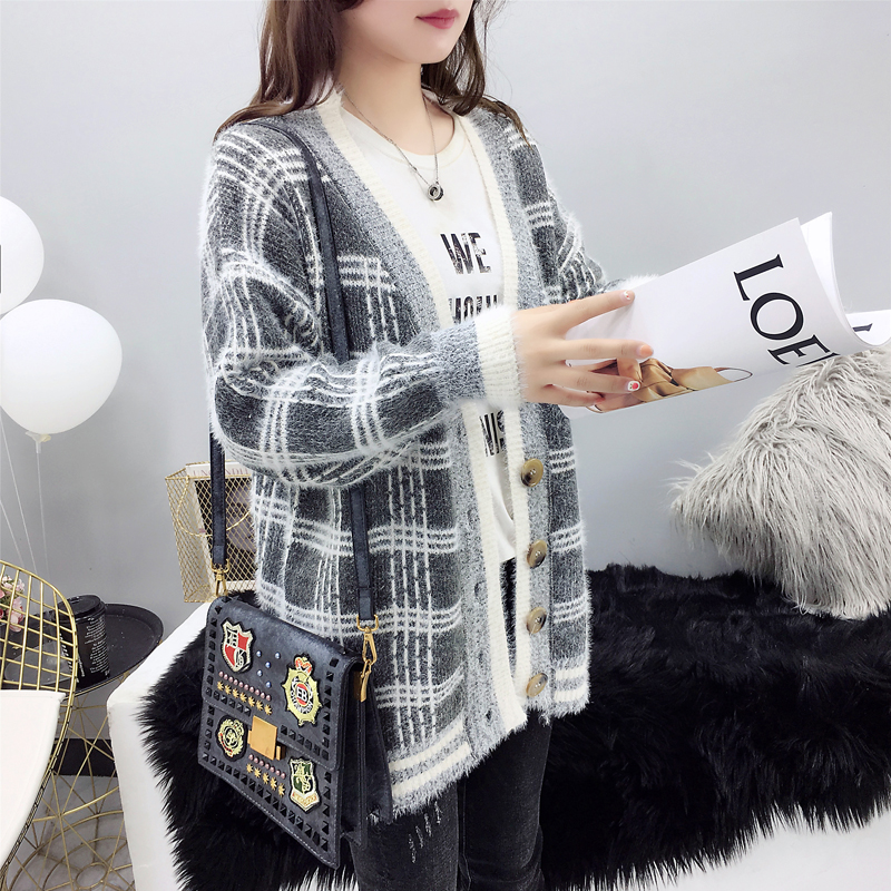 Women Winter Cardigan Sweater Knitted Korean version knitted jacket 2019 hippocampus Wool Plaid long section autumn Wear Loose 4