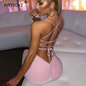 Articat Long Backless Maxi Dress Women Spaghetti Strap High Split Bodycon Bandage Summer Dress Elegant Slim Party Dress Vestidos
