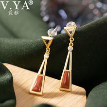 V.YA 925 Sterling Silver Long Earrings For Women Fashion Jewelry Natural Red Stone Plated Jewelry Elegant Female Gifts lotus fun moment real 925 sterling silver natural blue stone fashion jewelry cute hollow out honeybee dangle earrings for women