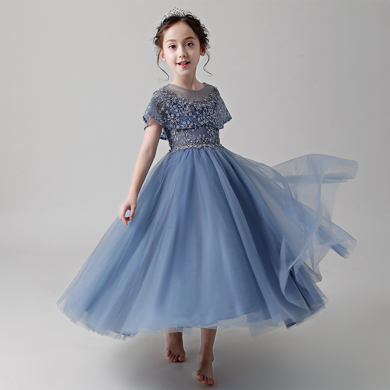 Girls' Wedding Dress Princess Dress 2019 New Style Western Style Flower Boys/Flower Girls Puffy Yarn Children Host Piano Costume