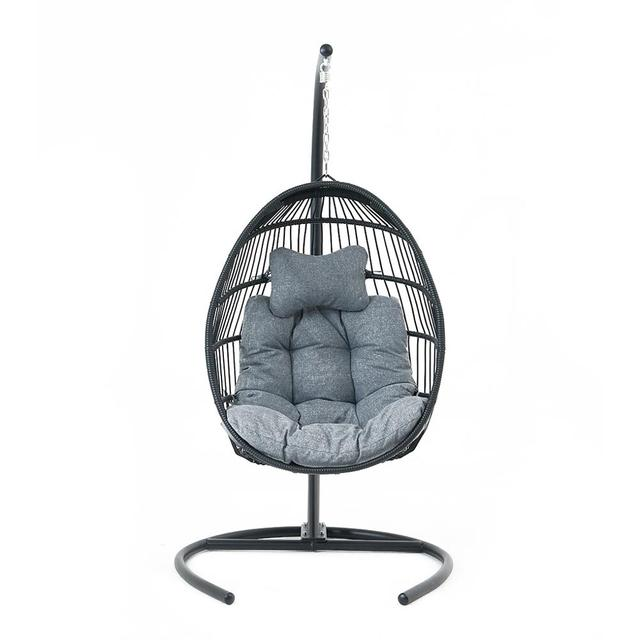 Hanging Egg Swing Chair Wicker Basket Seat with Cushion Steel Support Stand Frame for Home Patio Deck Garden Yard Backyard[US-W] 1