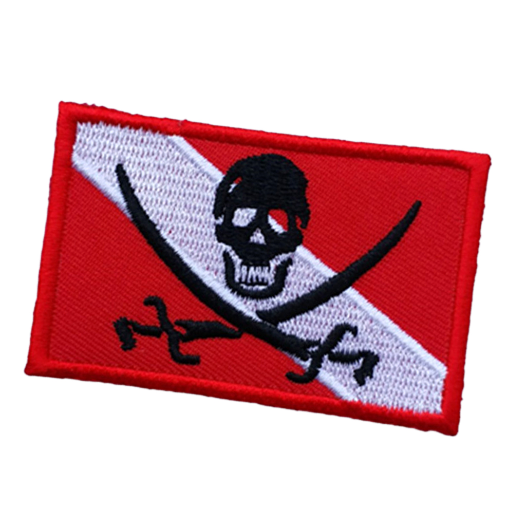 Skull Skeleton Scuba Dive Flag Patch Backpack Vest Bag Embroidered Iron On