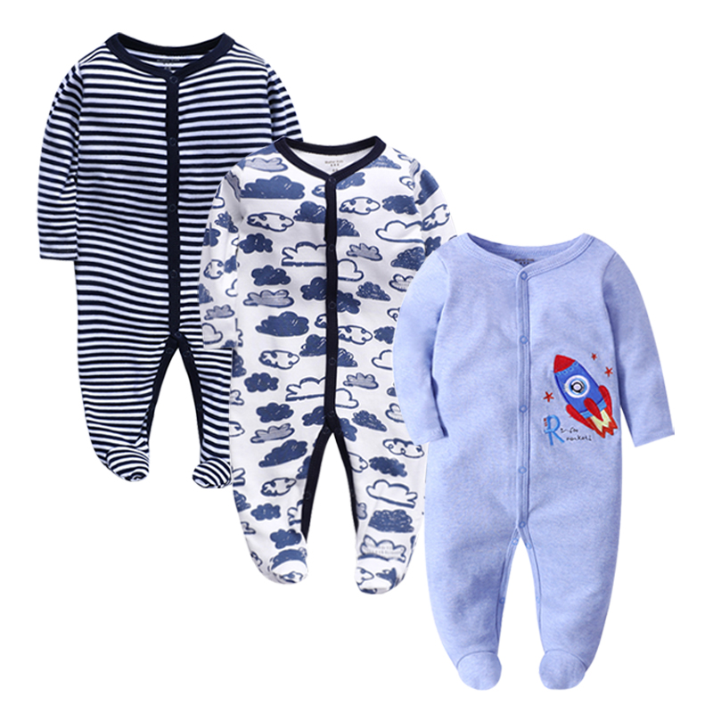 3 Pieces/lot Baby Rompers Newborn Baby Girls Boys Clothes 100% Cotton Long Sleeves Baby Pajamas Cartoon Printed Baby's Sets