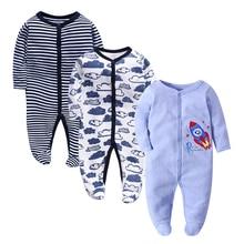 3 PCS Mother Nest Brand Baby Romper Long Sleeves 100% Cotton Pajamas Cartoon Printed Newborn Girls Boys Clothes