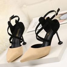 Summer europe/america 2020 new cross belt ladies high heel sandals