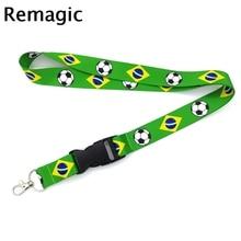 купить Brazil flag football Neck Strap Lanyard keychain Mobile Phone Strap ID Badge Holder Key Chain Keyrings cosplay Accessories Gifts онлайн