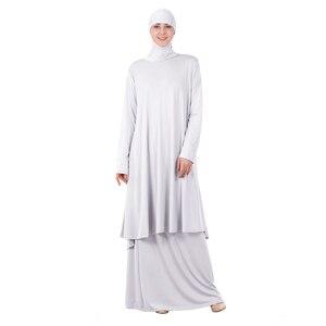 Image 4 - 女性イスラム教徒の礼拝アバヤ二枚ドレストーブガウンヒジャーブ祈り中東ローブイスラムフード Abayas スカート祈る服