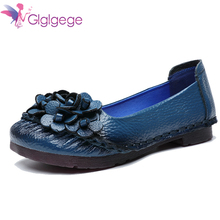 цена на Glglgege Plus size(36-41) women flats,women genuine leather flat shoes woman loafers newest fashion female casual single shoes