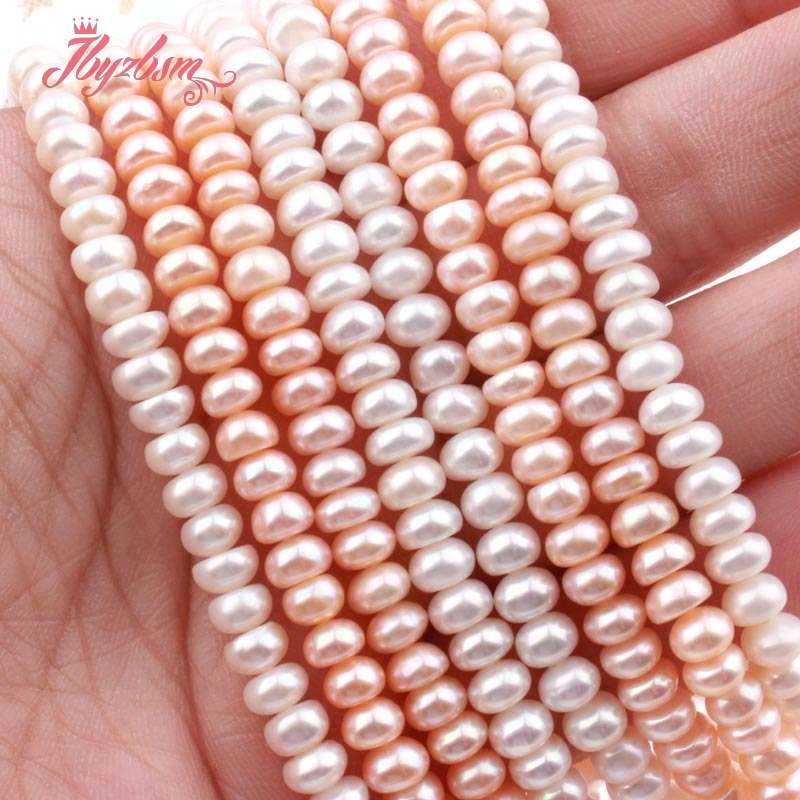 Natural Cultured Freshwater Pearl Rondelle Loose 3x5mm Natural Stone Beads For Jewelry Making DIY Necklace Bracelet Strand 15
