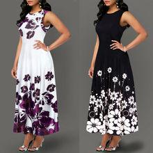 Элегантное женское длинное платье макси с цветочным принтом большого размера, вечернее пляжное платье, Летнее Длинное платье без рукавов с цветочным принтом, костюм