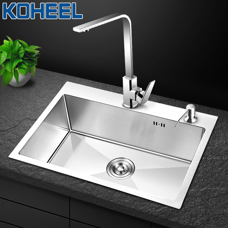 KOHEEL Brushed Stainless Steel Kitchen Sinks Wastafel Kitchen Sink Single Bowl Above Counter Or Undermount Handmade FKS01
