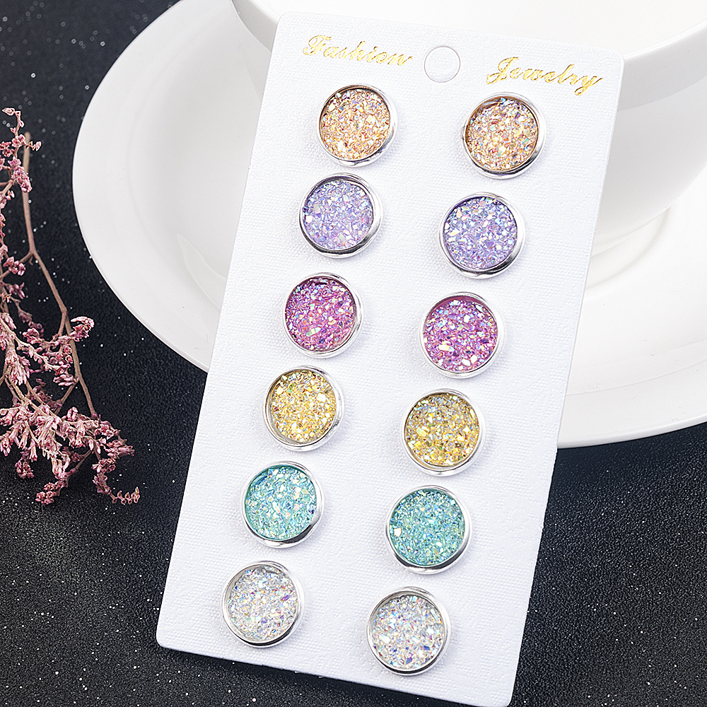 6 Pairs / Lot Colorful Drusy Resin Cabochon Stud Earrings Round Shape Piercing For Women Earrings Set Fashion Jewelry Party Gift