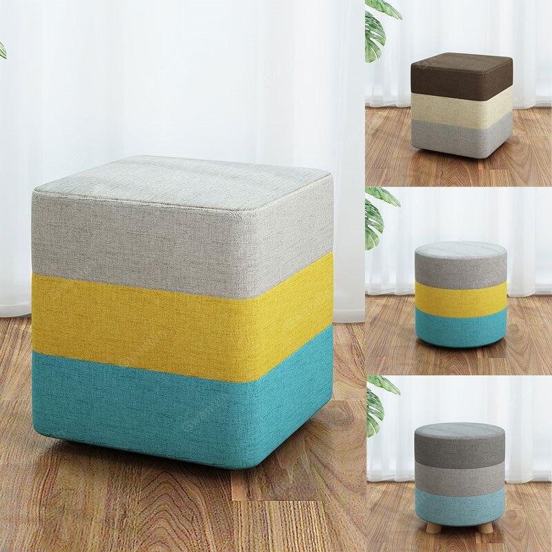 Nordique rond carré tissu en bois tabouret moderne petite chaise à manger tabourets maison canapé chambre bois banc enfants meubles pouf