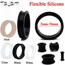 1 paar 3mm-76mm Große Größe Hohl Schwarz Silikon Flexible Doppel Ausgestelltes Flesh Ohr Tunnel Plugs Messer expander Bahren Schmuck