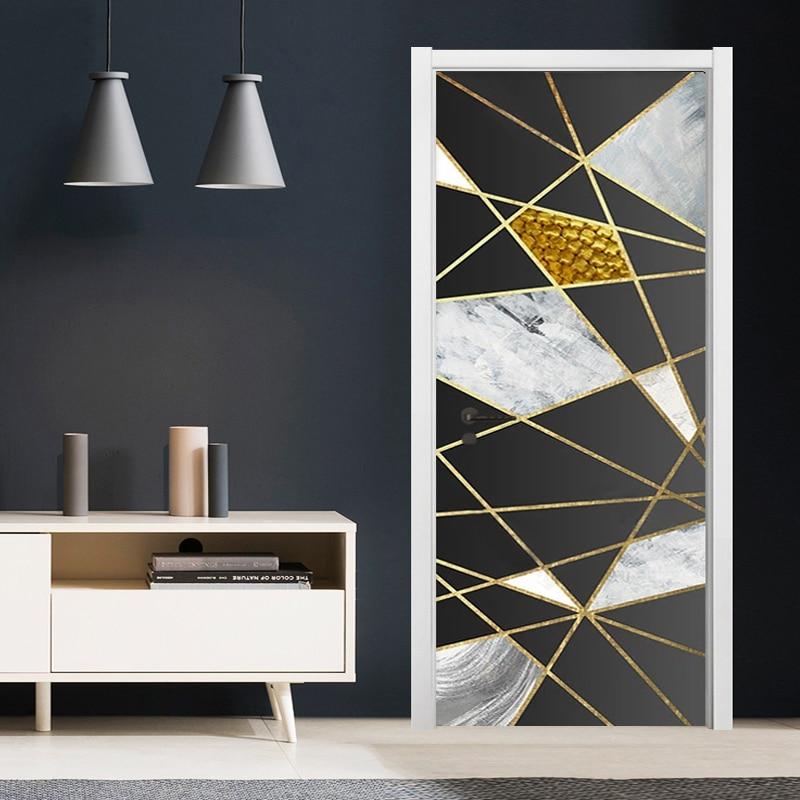 PVC Door Sticker Modern Golden Line Geometric Marble Pattern Wall Decor Living Room Kitchen Self-Adhesive Waterproof Wallsticker