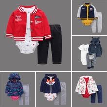 Winter Baby Suit Infant Clothing Autumn Toddler Hooded Polar Fleece Jacket +Romper+Long Pants 3pcs/Set baby clothes