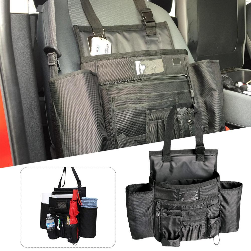 Car Seat Organizer Multi Pocket Water Bottle Holder Front