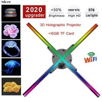 WiFi 3D Holographic Projector Hologram Player Naked Eye LED Display Fan Advertising Light 16G TF Card APP Control 384/576 LEDs