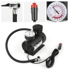 Preto mini 12v elétrica pneu inflator bomba compressor de ar 300 psi peças de automóvel universal portátil acessórios do carro