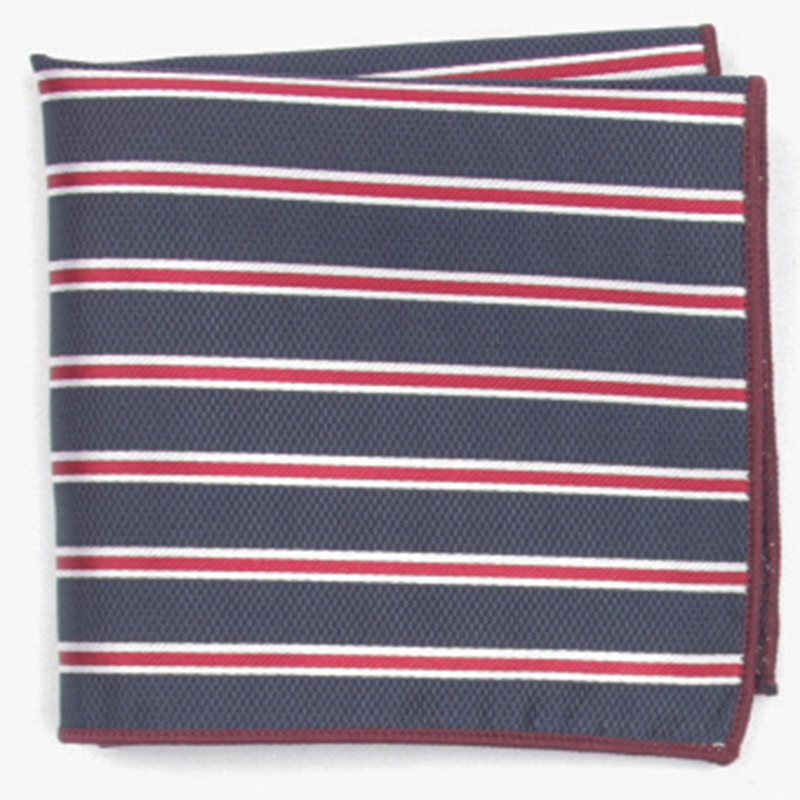 Navy Stripe Patterned Pocket Square With Patterns Handkerchief