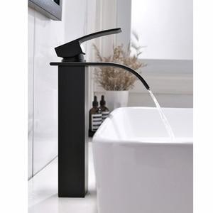 Image 2 - Матовый черный смеситель для ванной комнаты, водопад, однорычажный кран для раковины, смеситель горячей и холодной воды Tap