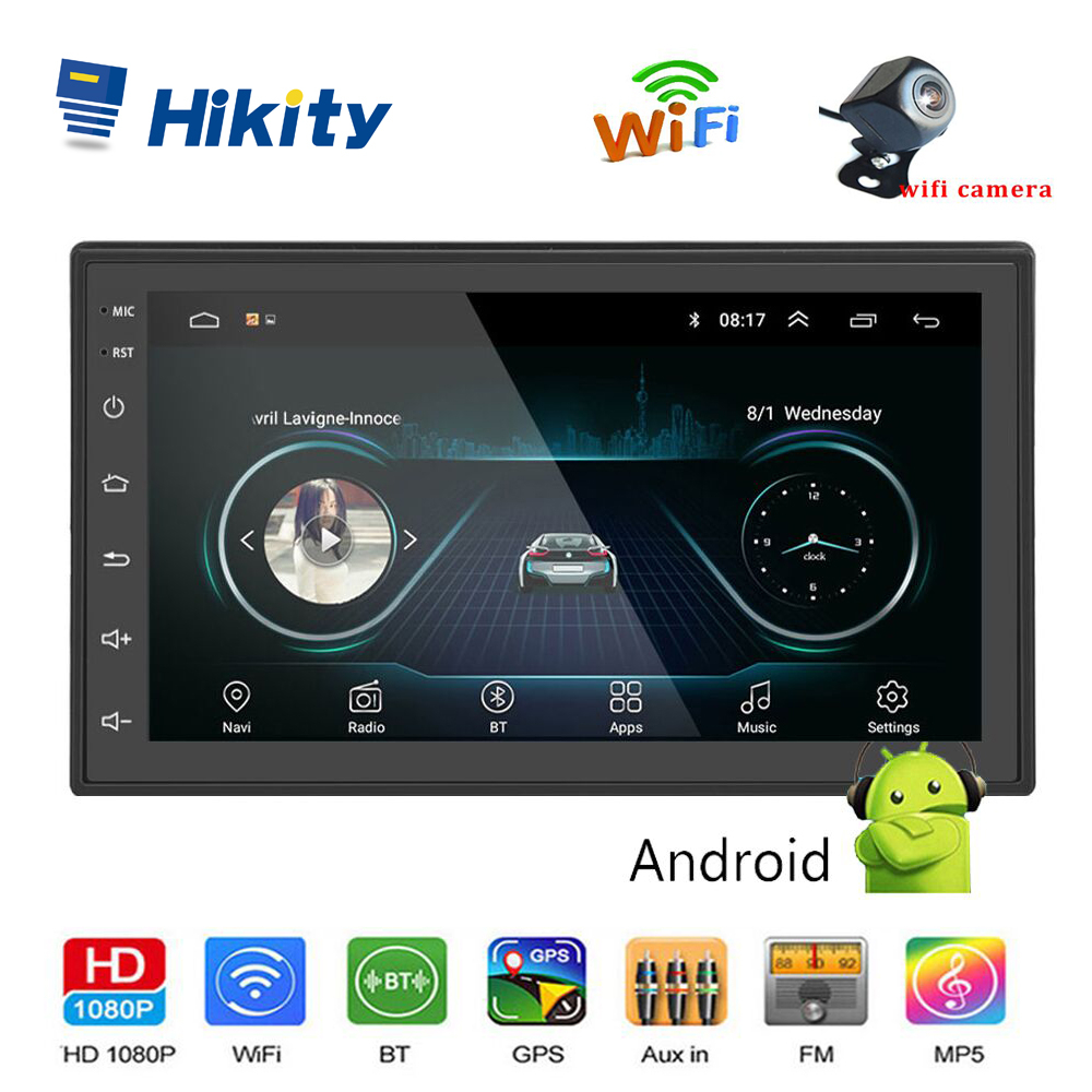 Hikity 2 din Android Car Multimedia Audio MP5 Player GPS Navigation 7 inch Bluetooth FM WIFI AUX Auto Radio Support Wifi Camera image