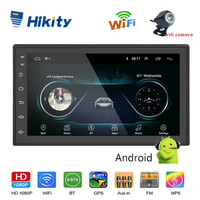 Hikity 2 din Android Car Multimedia Audio MP5 Player GPS Navigation 7 inch Bluetooth FM WIFI AUX Auto Radio Support Wifi Camera
