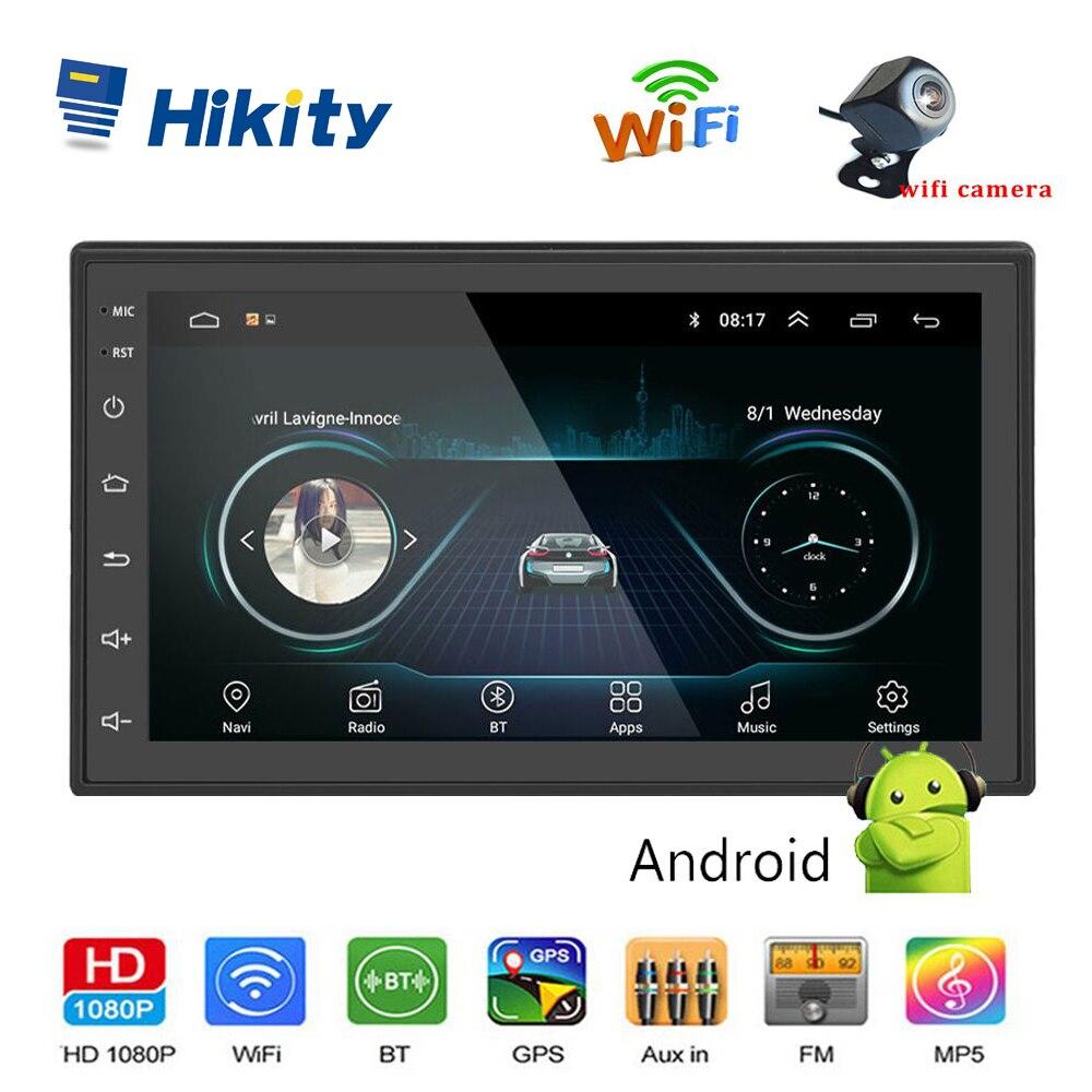 Lecteur Audio multimédia MP5 de voiture Android Hikity 2 din Navigation GPS 7 pouces Bluetooth FM WIFI AUX prise en charge automatique de la Radio caméra Wifi