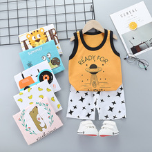 2017 new summer baby clothing set cotton cute pattern vest New Summer Baby Girl Set Boy Kids Cotton Sleeveless Vest Tops+Shorts 2Pcs Set Clothes Cartoon Toddler Children Clothing Outfit