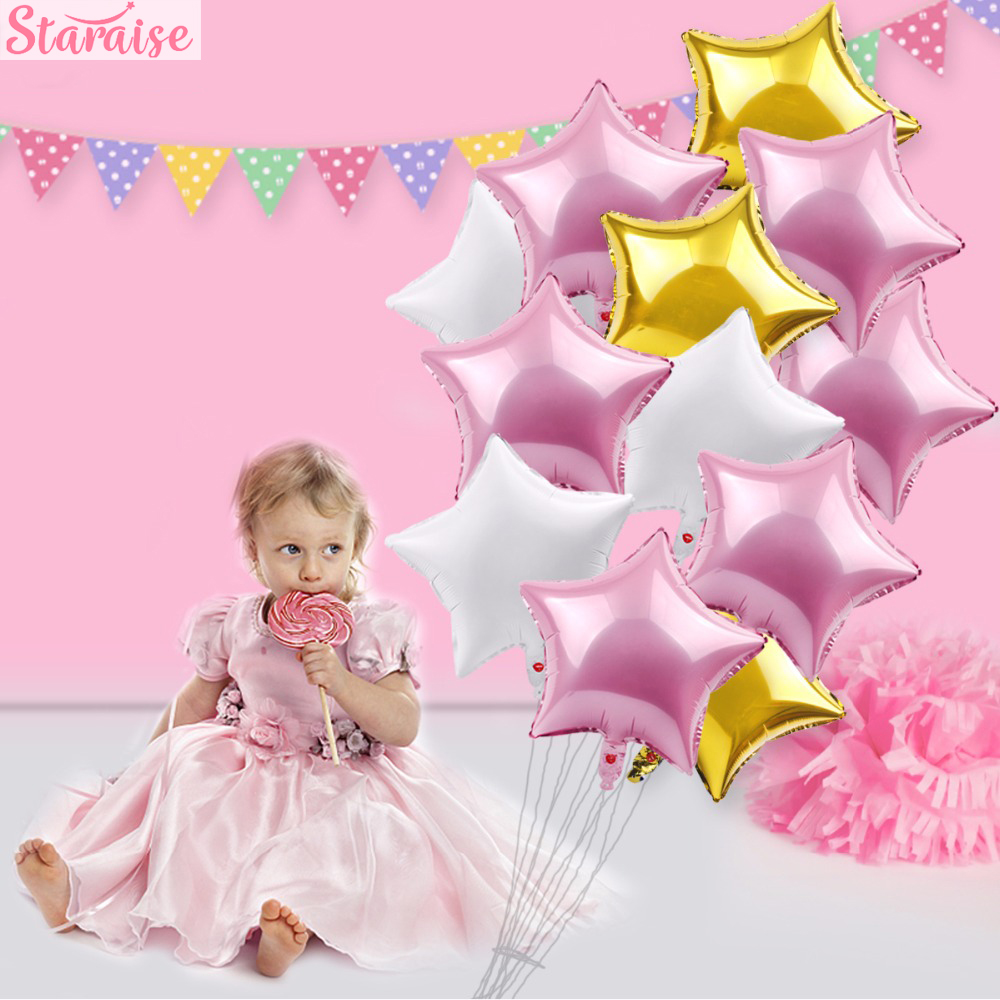 Staraise 12pcs Foil Helium Balloons Happy Birthday Balloon Set Its A Boy Girl Christening Baptism Birthday Party Decorations in Party DIY Decorations from Home Garden