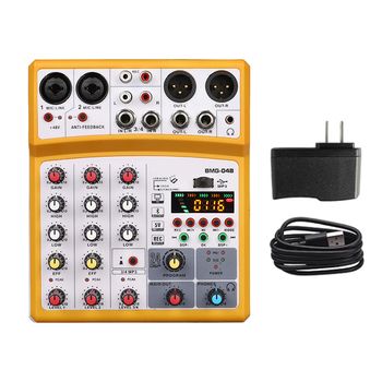 4 channel mixer audio interface dj mixing console karaoke with usb bluetooth powered by usb buses and mobile charger - Yellow US Plug