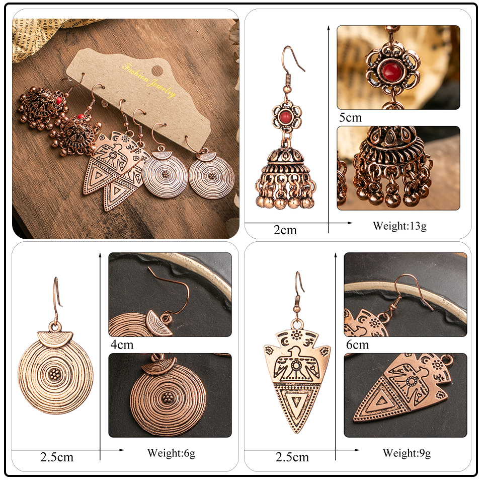 Ethnic Rose Gold Metal Tassel Fringe Womens Earrings Sets Jewelry Bohemia Vintage Round Circle Leaf Butterfly Geometric Drop Earrings Dropshipping Wholesale (1)