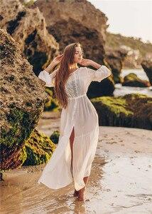 Image 5 - Weiß Spitze Strand Kleid Für Frauen Lange Kaftan Sonne Beachwear Kleider 2020 Sommer Sommerkleider Plus Größe Tunika Robe Blanche Saida de