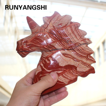 Runyangshi 1pc Hand carved natural quartz Dragon Blood Stone Crystal unicorn for sale
