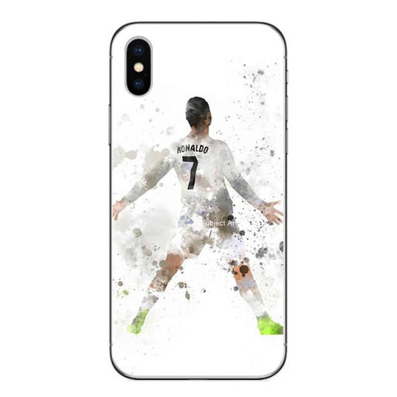 Caja de teléfono móvil de gel de sílice suave fútbol Cristiano Ronaldo CR7 funda de teléfono para iphone 7 8 6X7 más 5S SE XR