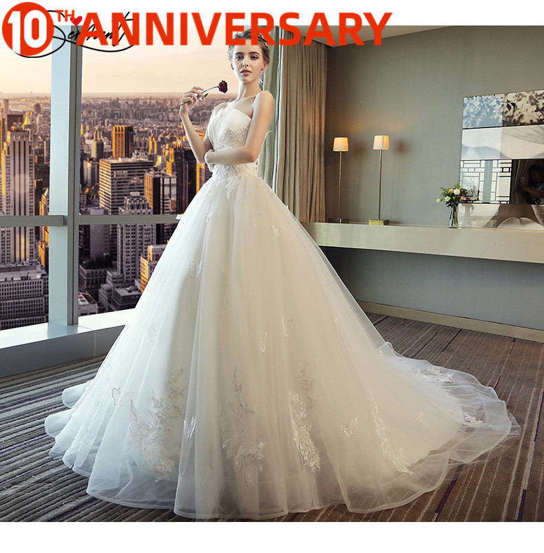 OllyMurs Princess Dream Embroidery Spring Bride Bract-shaped Strapless Sexy Elegant Long Railway Wedding Dress